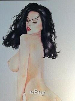 Original Drawing Female Dedicace Board Bd Akt Nudo Nude Female Nude Woman A 015