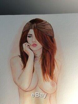 Original Drawing Female Dedicace Board Bd Akt Nudo Nude Female Nude Woman A 018