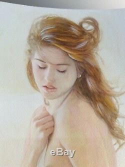 Original Drawing Female Dedicace Board Bd Akt Nudo Nude Female Nude Woman A134