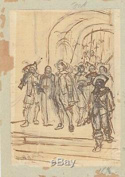 Original Drawing In Pencil Of Alphonse De Neuville (1835-1885) Musketeers