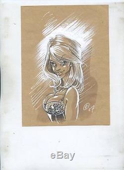 Original Drawing Inedit De Crisse (atalante) The Pin Up Tres Bel Etat
