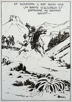 Original Drawing Of Captain Tornade By Claude-henri Juillard For Zorro 1955