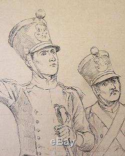 Original Drawing Of Eugene Chaperon (1857-1938) Military Soldier Militaria