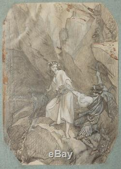 Original Drawing Of Felix Philippoteaux (1815-1884) Illustration Mountain