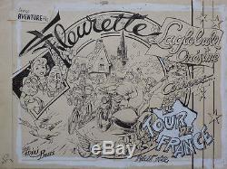 Original Drawing Of Mixi-berel Dated 1946 For Cover Tour De France Artima