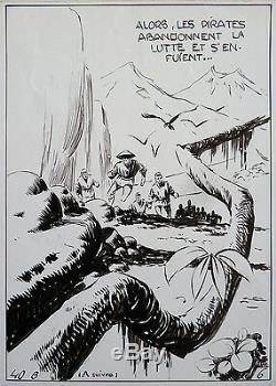 Original Plate Captain Tornado By Claude-henri Juillard For Zorro 1955