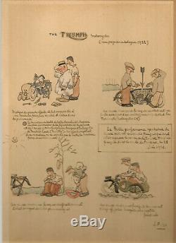 Original Plate Joseph Pinchon (snipe) Unpublished Drawing