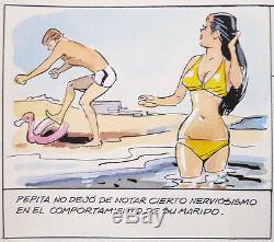Original Sheet Of Doctor Gaudéamus By Coq And Goscinny Pin Up Bikini