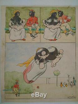 Original Single Drawing Board Cartoon 1903 Raymond Of Signed Nezière