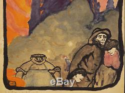 Our Lady At Twilight Watercolor Original Captioned Preparatory Fauvism