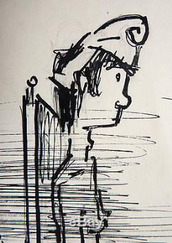 Paul Colin (1892-1985) Original Drawing Political Humor Around 1945