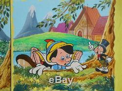 Pinocchio Collodi & Disney A Board Of 4 Original Drawings In Colors