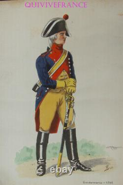 Pl115 Watercolor Board Gendarmerie 1791