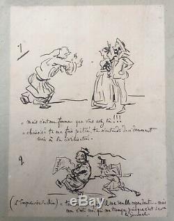 Plate 9 Original Drawings Ink Humor Caricature Cham (1818-1879) Nineteenth
