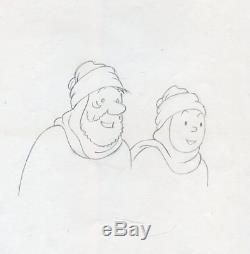 Rare Beautiful Drawing Tintin Haddock Pencil Paper Studio Herge