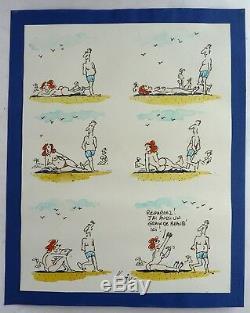 Rare Drawing Board Original Color Hoviv René Hovivian Drawing Humoristique