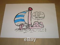 Rare Drawing Original Colors / Vive Holidays Sign Reiser / Tres Bon Etat