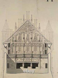 Rare Grand Drawing Epure Architect's Plank For Palace To Determine Signed