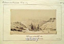 Return To France Planche 16 Daté 1823 Landscape Original Old Drawing