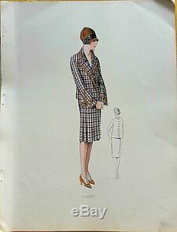 Sketch Drawing Fashion Plate 1927 Color Art Deco Annees Folles Model A25250