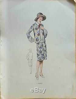 Sketch Drawing Fashion Plate 1927 Color Art Deco Annees Folles Model A25253