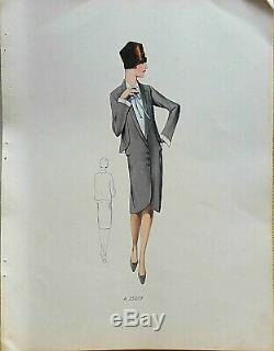 Sketch Drawing Fashion Plate 1927 Color Art Deco Annees Folles Model A25257