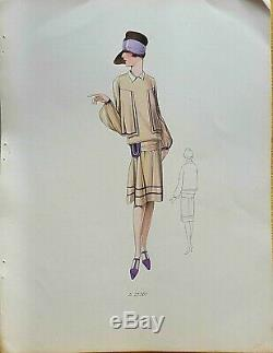 Sketch Drawing Fashion Plate 1927 Color Art Deco Annees Folles Model A25261