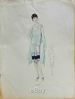 Sketch Drawing Fashion Plate 1927 Color Art Deco Annees Folles Model A25278