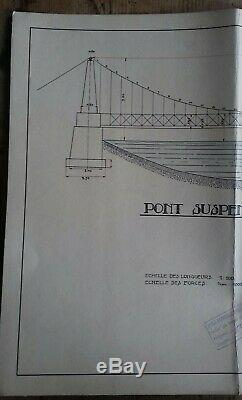 Suspension Bridge Drawing Board In 1927 Signed Nat School. Technical Strasbourg