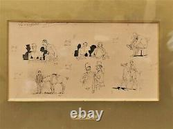 Table / Board Of 6 Original Crafty Drawings. The Hunters Hunting To Run