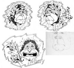 Three Original Drawings By Gotlib (pierre Perret) / Original Plank