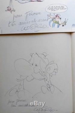Uderzo Dedication Autographe Signed / Drawing Obélix