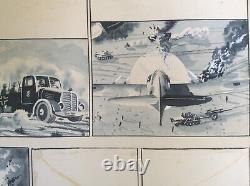 Ww2 Drawing Original Plank War 40/45 - Ink And Gouache -36 X 25,5 CM
