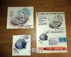 2 Dessins couleur encre de chine publier dans le journal Spirou de R. Hausman