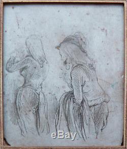 2 petits dessins originaux de Paul GAVARNI (1804-1866) sur bois