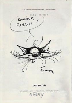 André FRANQUIN Dessin original Le Chat signé dans l'album Lagaffe Nous Gâte