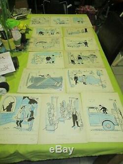 André Harvec Dessin original signé rare lot de 14 planche