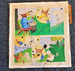 Année 50 Aquarelle Planche De Livre Fable De La Fontaine Signature-dessin