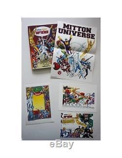 Dessin A4 original 4E COUVERTURE SUP HEROS de JY MITTON OW! Encré LUG TITANS