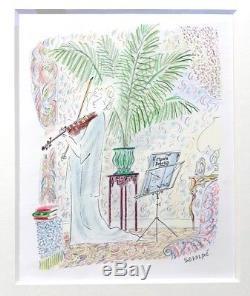 Dessin Original Crayon SEMPE Hommage a Debussy Encadré 2934 Cm