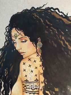 Dessin Original Dedicace Planche Bd Hommage Djinn Magicienne Sorciere Art Akt