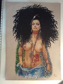 Dessin Original Dedicace Planche Bd Hommage Djinn Pin Up Akt Art Femme Fantasy