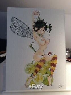Dessin Original Dedicace Planche Bd Hommage Fee Loisel Fantasy Pin Up Akt Art