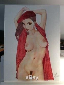 Dessin Original Dedicace Planche Bd Hommage Femme En Rouge Pin Up Art Akt Nudo