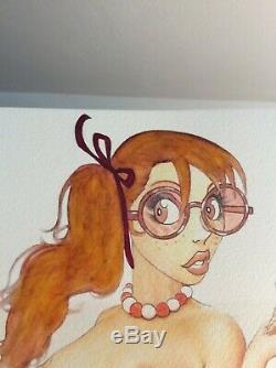 Dessin Original Dedicace Planche Bd Hommage Jeanne Secretaire Pin Up Akt Art