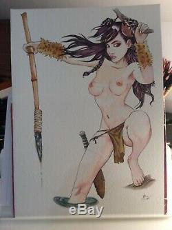 Dessin Original Dedicace Planche Bd Hommage Navis Sillage Pin Up Akt Art Femme