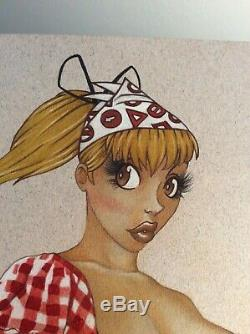 Dessin Original Dedicace Planche Bd Hommage Seccotine Spirou Pin Up Art Femme