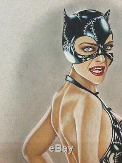 Dessin Original Femme Dedicace Planche Bd Akt Cinema Catwoman Michelle Pfeiffer