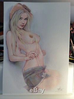 Dessin Original Femme Dedicace Planche Bd Akt Nudo Nude Nu Feminin Woman A 017