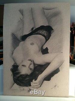 Dessin Original Femme Dedicace Planche Bd Akt Nudo Nude Nu Feminin Woman A 041